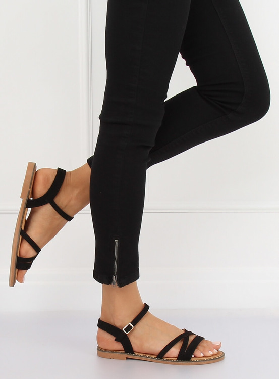 Sandałki damskie czarne S55 BLACK