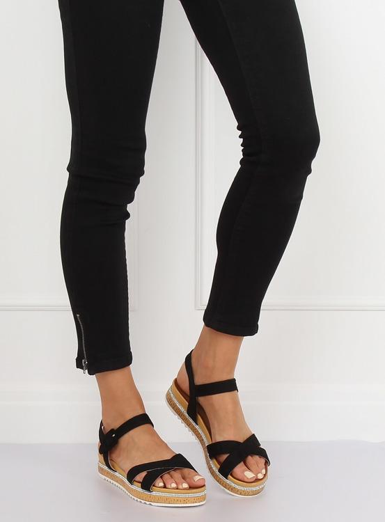 Sandałki damskie czarne Y1521 BLACK