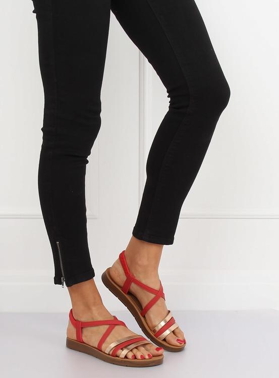 Sandałki damskie czerwone 2220 RED