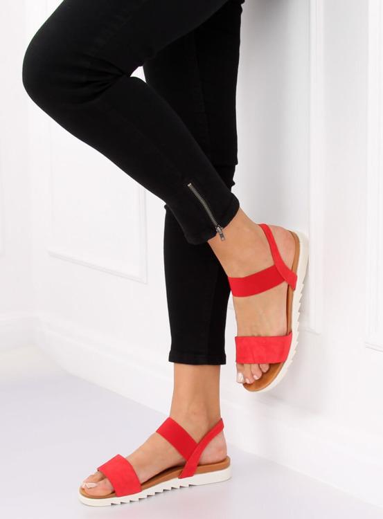 Sandałki damskie czerwone 9001 RED