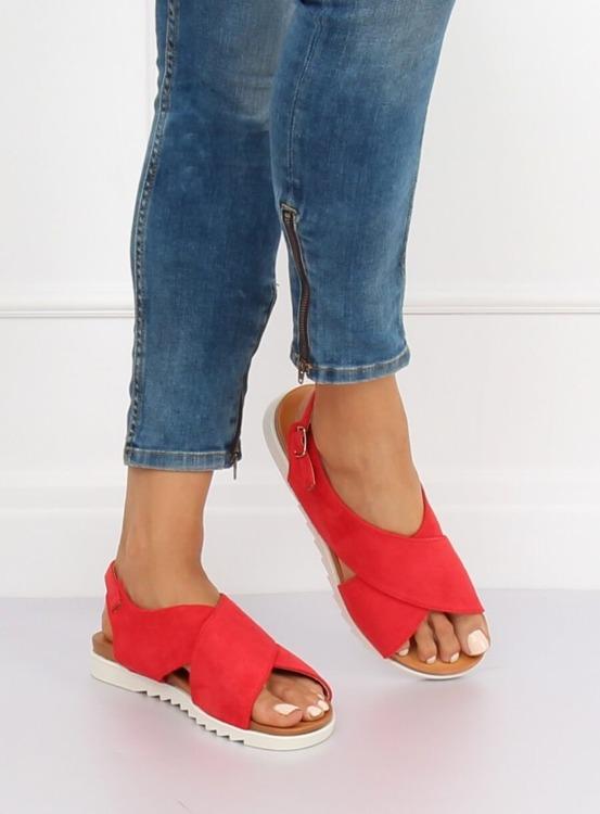 Sandałki damskie czerwone 9003 RED
