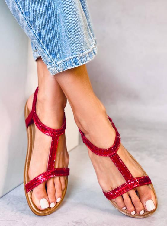Sandałki damskie czerwone FM5035 RED