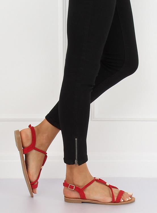 Sandałki damskie czerwone L520 RED