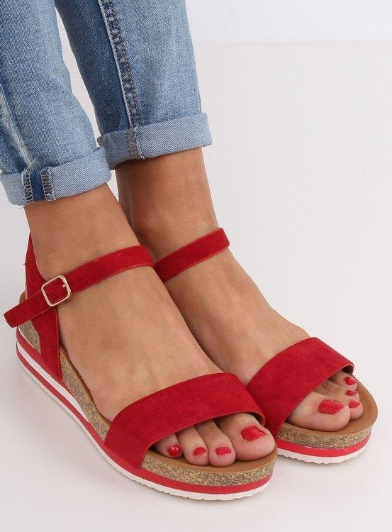 Sandałki damskie czerwone RD054 RED