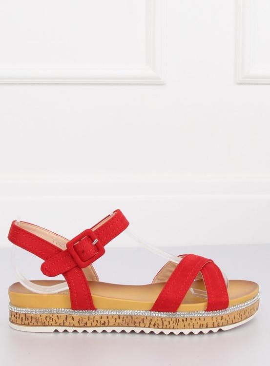Sandałki damskie czerwone Y1521 RED