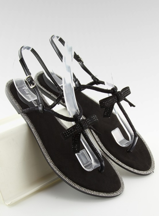 Sandałki damskie japonki czarne 17715 NEGRO