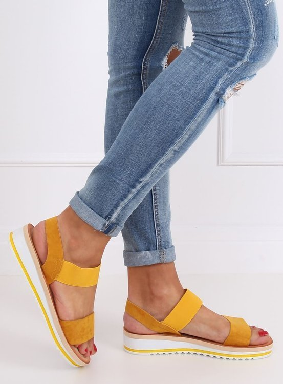 Sandałki damskie miodowe E008 YELLOW