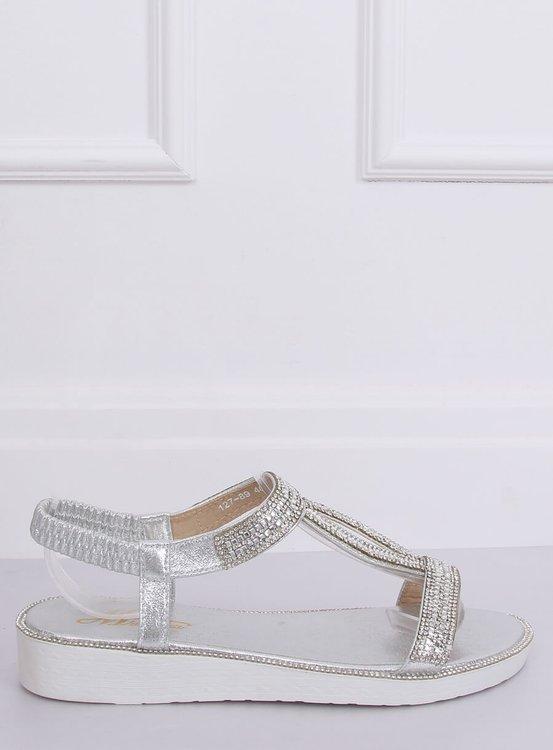 Sandałki damskie srebrne 127-89 SILVER