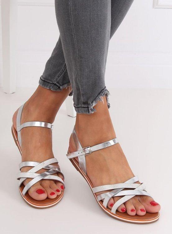 Sandałki damskie srebrne 99-62 SILVER