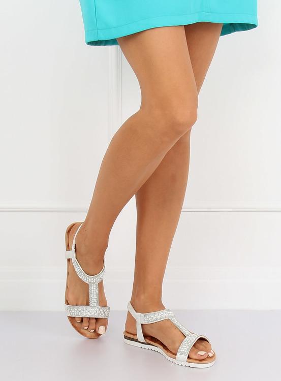 Sandałki damskie srebrne HT-67 SILVER