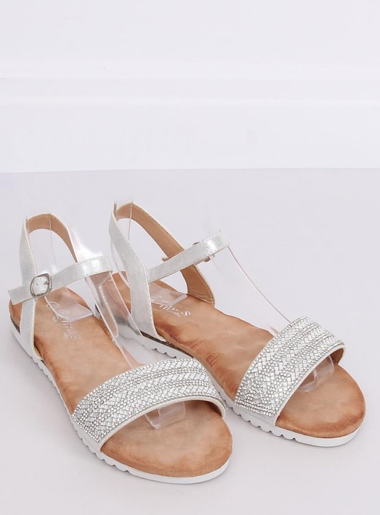Sandałki damskie srebrne HT-69 SILVER