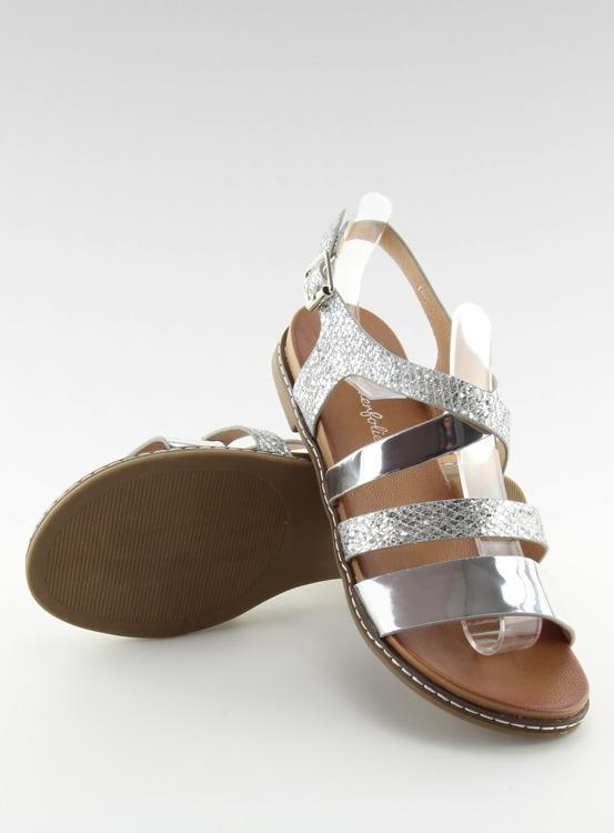 Sandałki damskie srebrne J80-1 SILVER