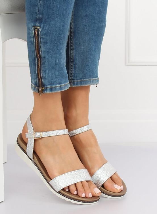 Sandałki damskie srebrne S18-33 SILVER