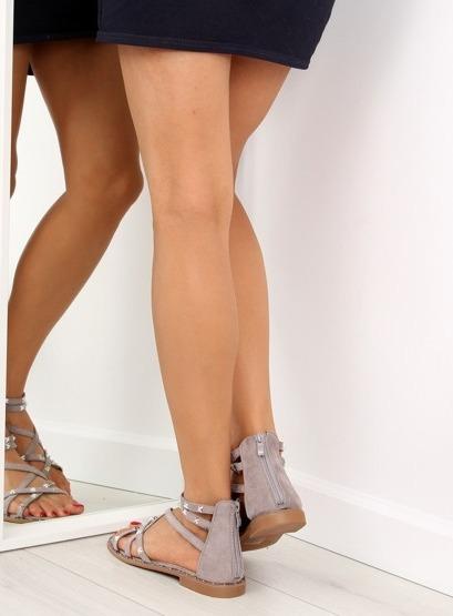 Sandałki damskie szare 358 GREY