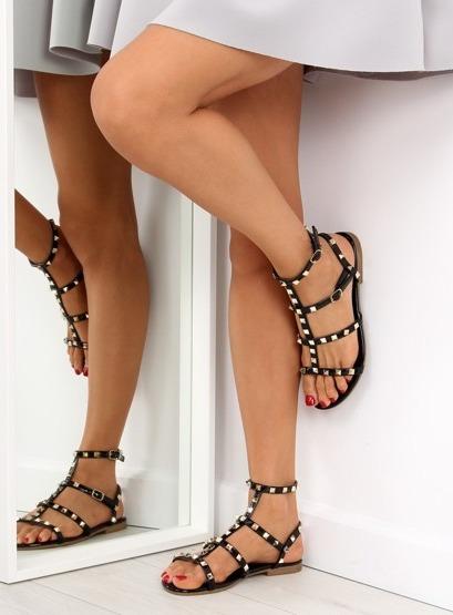 Sandałki damskie z ćwiekami czarne H56 BLACK