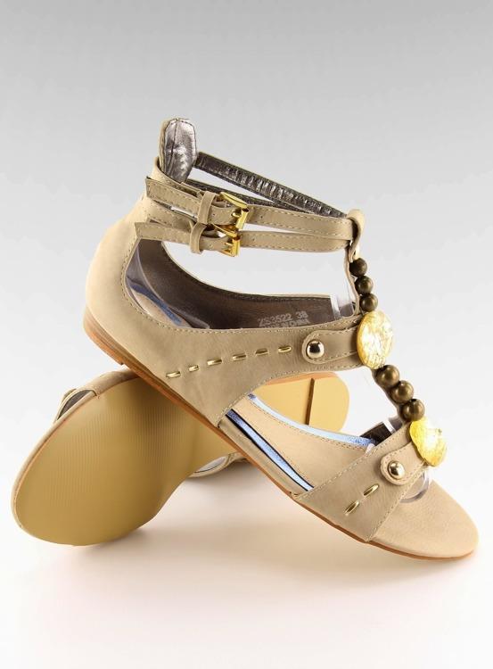 Sandałki damskie z kamieniami beżowe ZS3522 Beige