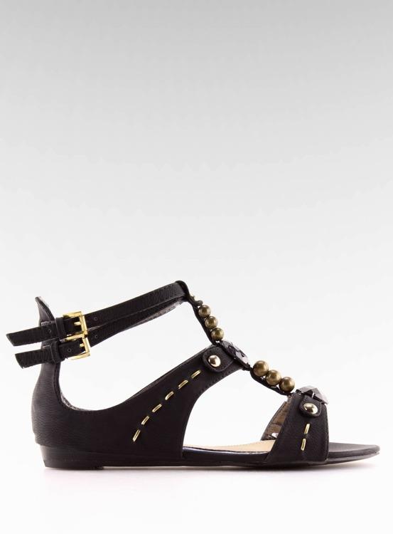 Sandałki damskie z kamieniami czarne ZS3522 BLACKA