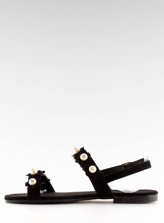 Sandałki damskie z perełkami czarne 55-66 BLACK