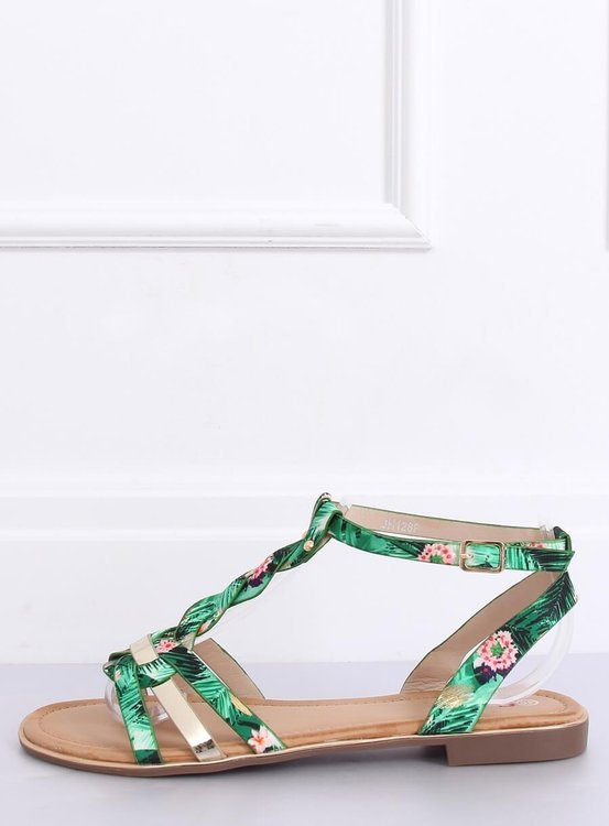 Sandałki damskie zielone JH128P FLOWER GREEN