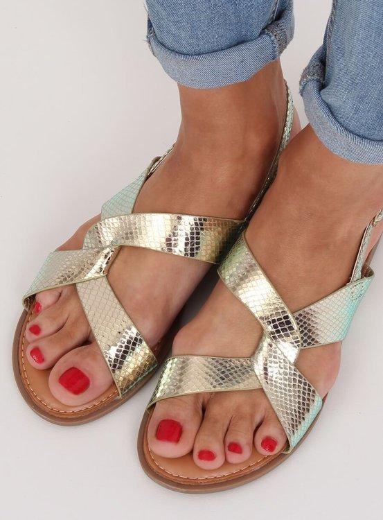 Sandałki damskie złote 222-31 GOLD