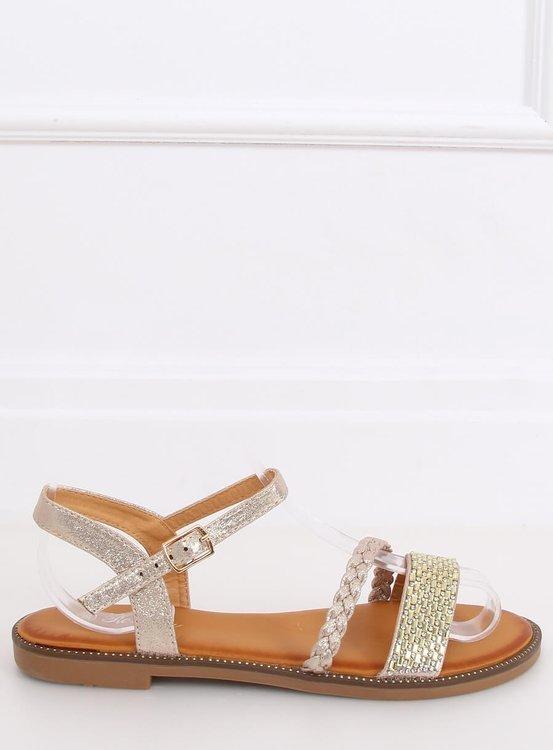 Sandałki damskie złote 620-62 GOLD