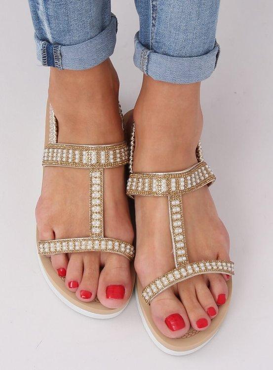 Sandałki damskie złote HD-128 GOLD