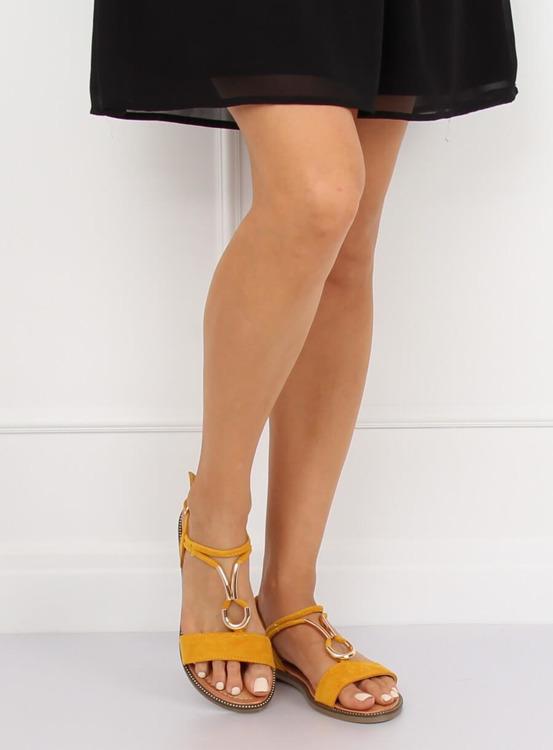 Sandałki damskie żółte WL024 YELLOW