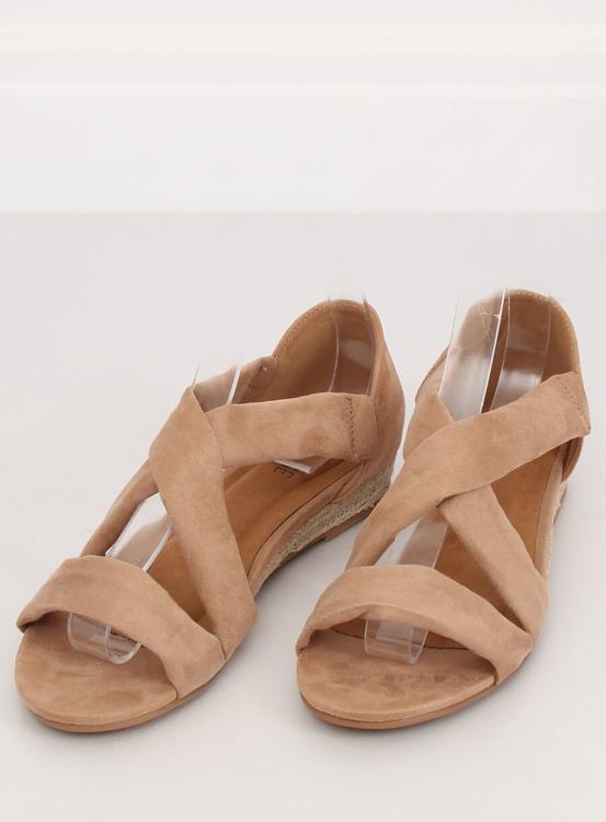 Sandałki espadryle beżowe 9R72 KHAKI