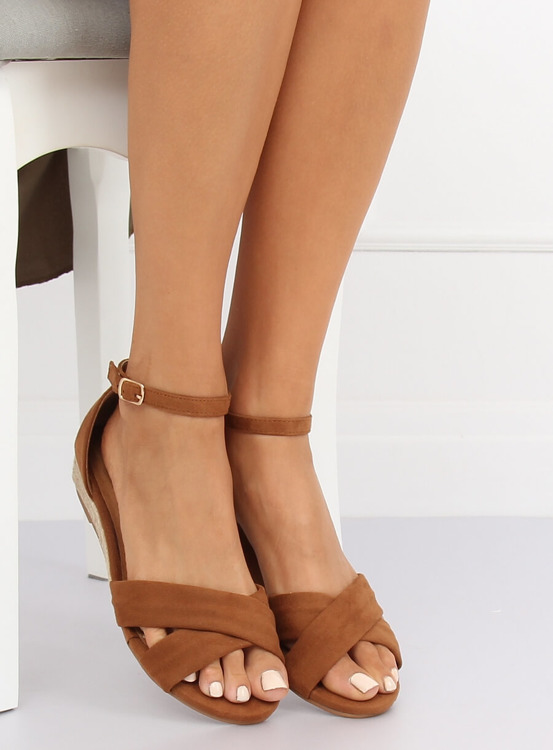 Sandałki espadryle brązowe 9R121 CAMEL
