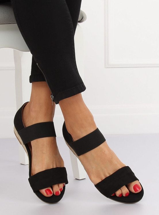 Sandałki espadryle czarne 9R71 BLACK