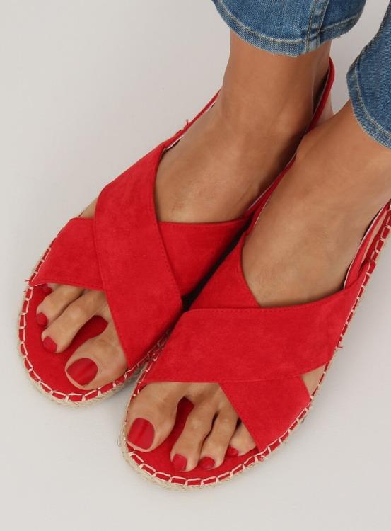 Sandałki espadryle czerwone YJ-2M12 RED