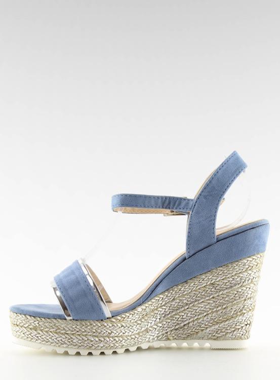Sandałki espadryle na koturnie niebieskie 6823 BLUE