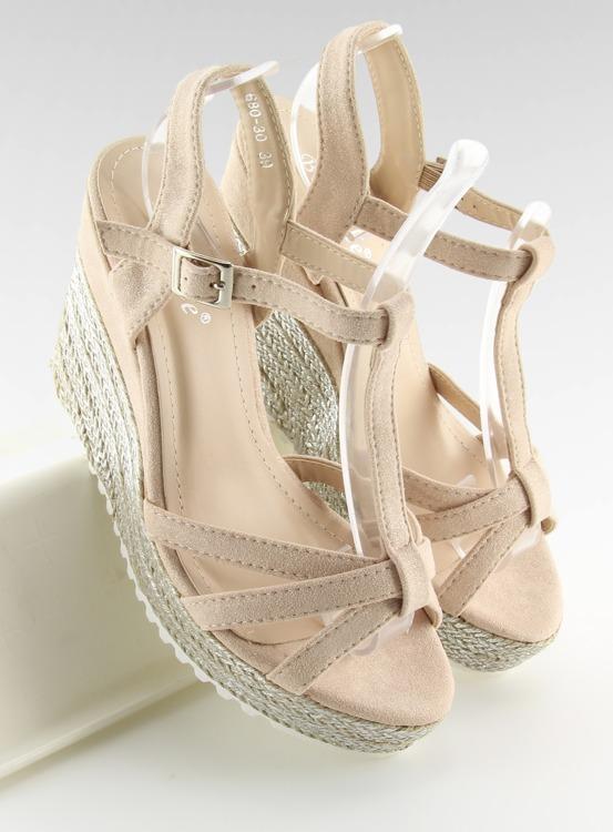 Sandałki espadryle na koturnie różowe 680-30 PINK