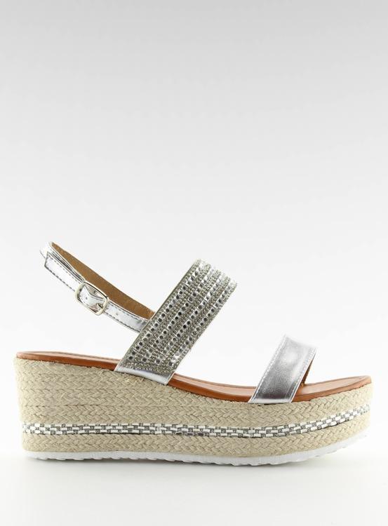 Sandałki espadryle na koturnie srebrne GG-52P Silver