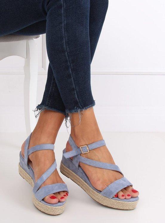 Sandałki espadryle niebieskie 680-38 BLUE