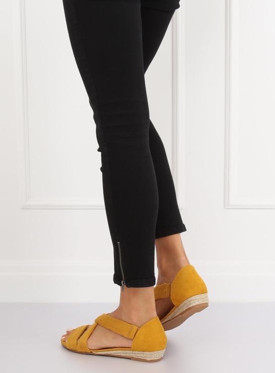 Sandałki espadryle żółte 9R72 YELLOW