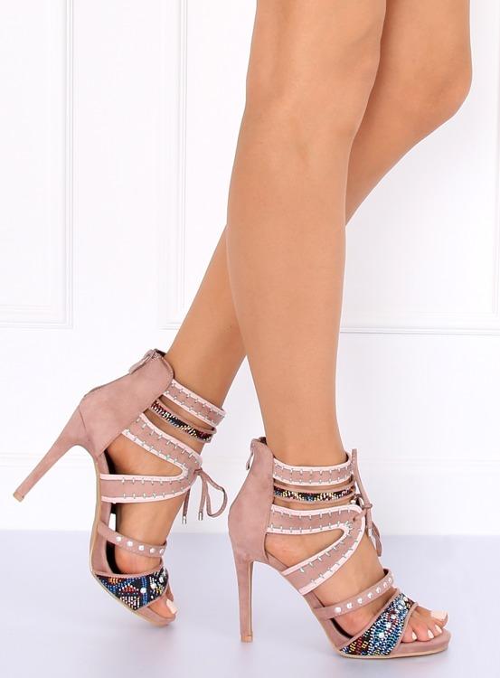 Sandałki gladiatorki różowe MT029 PINK