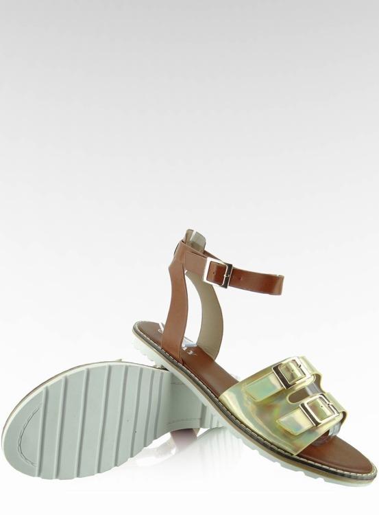 Sandałki hologramowe paski 2015L-139-3W Gold