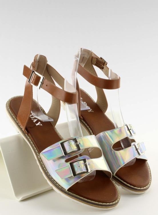 Sandałki hologramowe paski 2015L-139-3W Silver