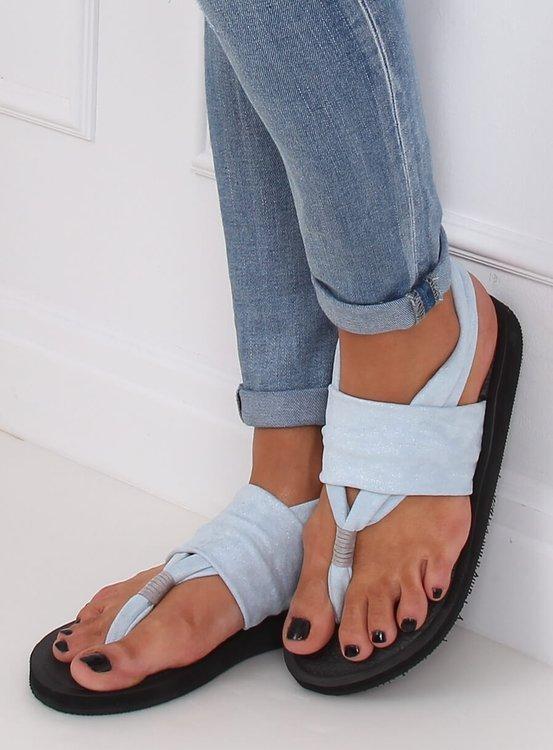Sandałki japonki bawełniane niebieskie DD82P BLUE