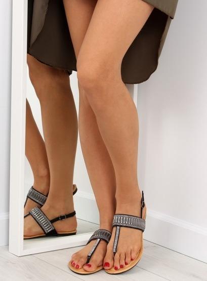 Sandałki japonki z kamieniami czarne 6700 BLACK