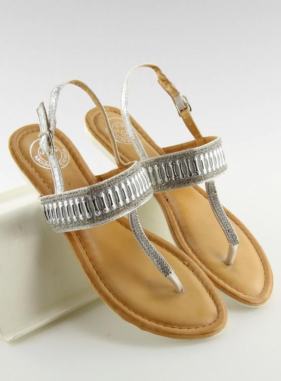 Sandałki japonki z kamieniami srebrne 6700 SILVER