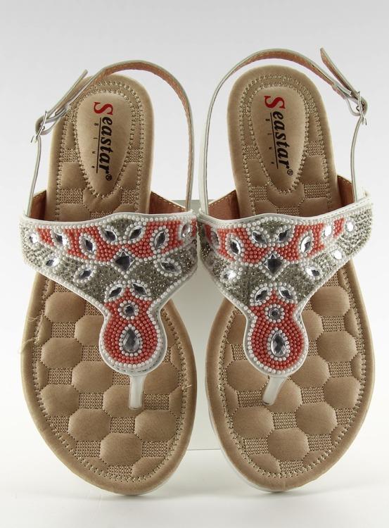 Sandałki japonki z koralikami G144 WHITE