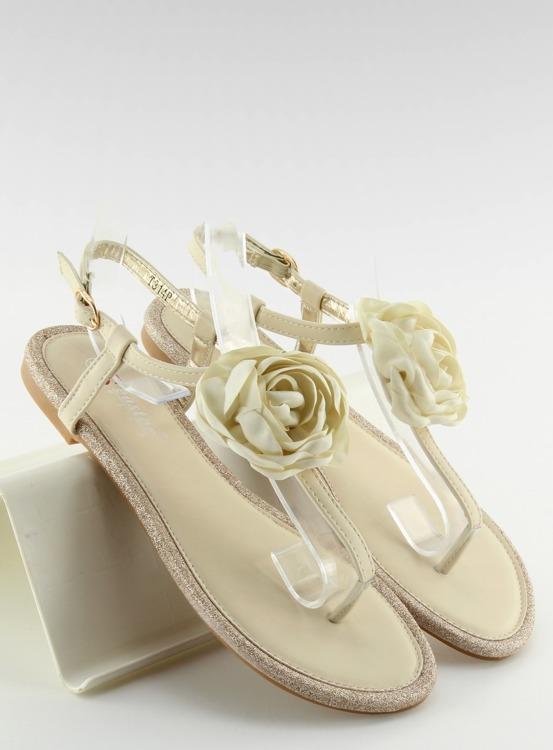 Sandałki japonki z kwiatem beżowe T314P BEIGE