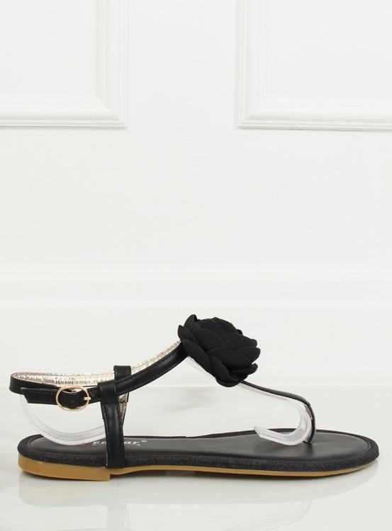 Sandałki japonki z kwiatem czarne T314P BLACK