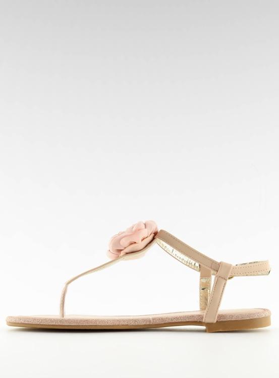 Sandałki japonki z kwiatem różowe T314P PINK