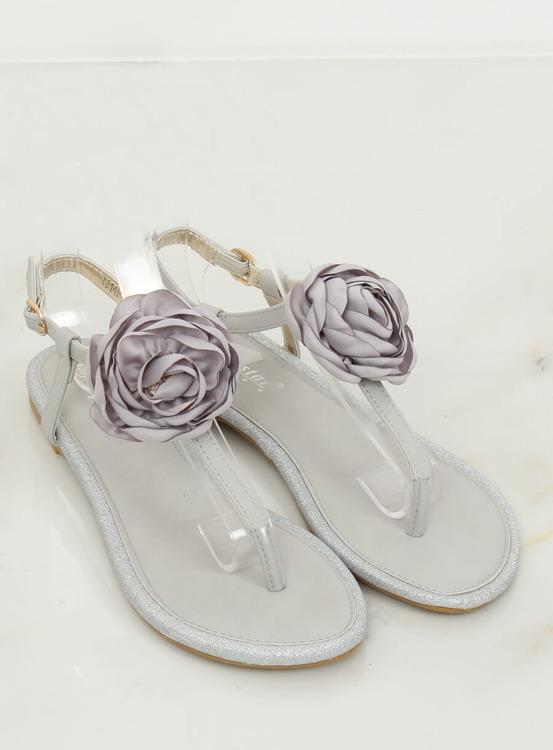Sandałki japonki z kwiatem szare T314P GREY