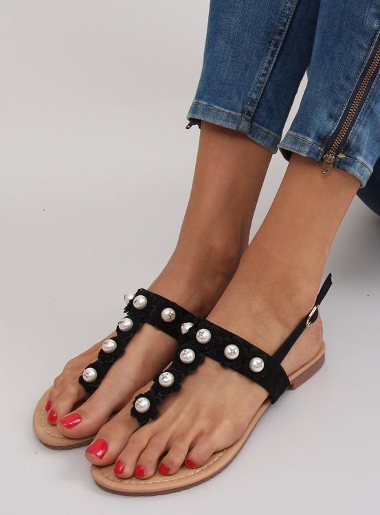 Sandałki japonki z perełkami D-6541 BLACK