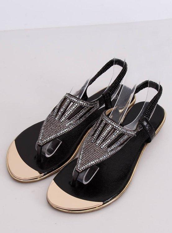 Sandałki japonki zdobione czarne M03 BLACK