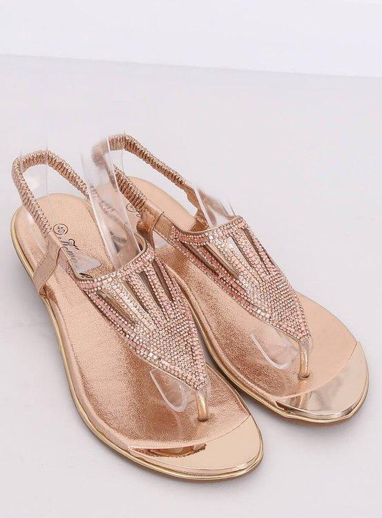 Sandałki japonki zdobione szampańskie M03 CHAMPAGNE